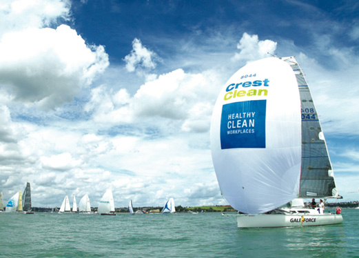 Branded spinnaker in Round North Island race
